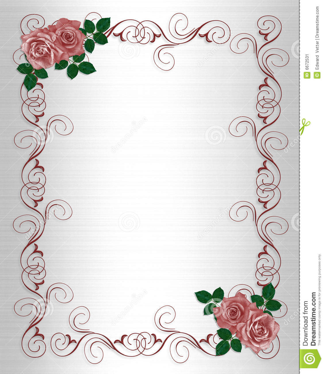 Red Roses Illustration Composition For Birthday Party Wedding Invitation Background Card Or Stationery With Copy Space