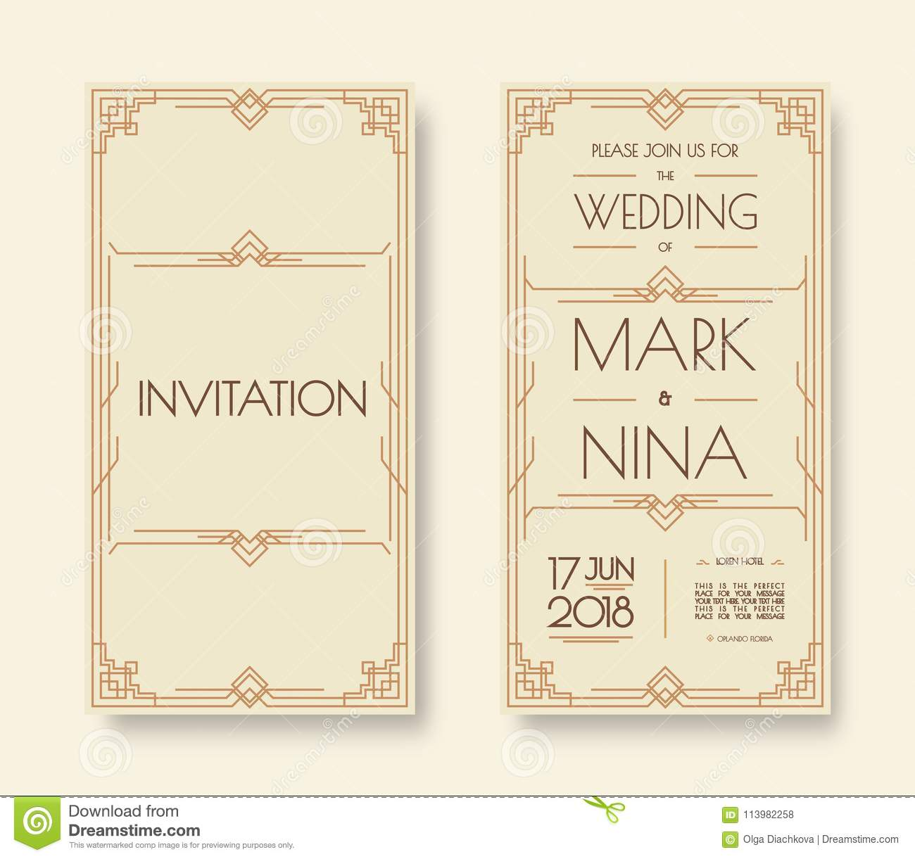 Wedding Invitation Template Set Art Deco And Arabic Line Style With