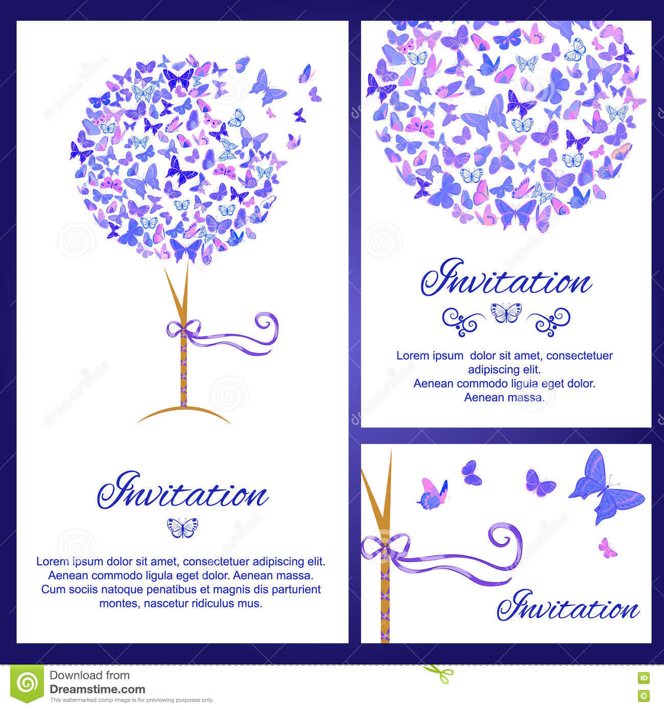 Wedding Invitation Template Set With Butterflies In Blue Color ...