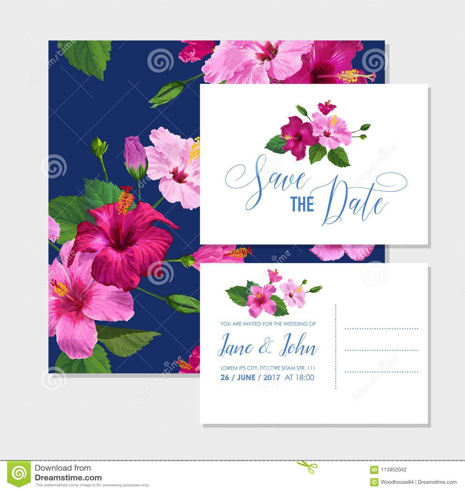 Wedding Invitation Template Set With Purple Hibiscus Flowers Save