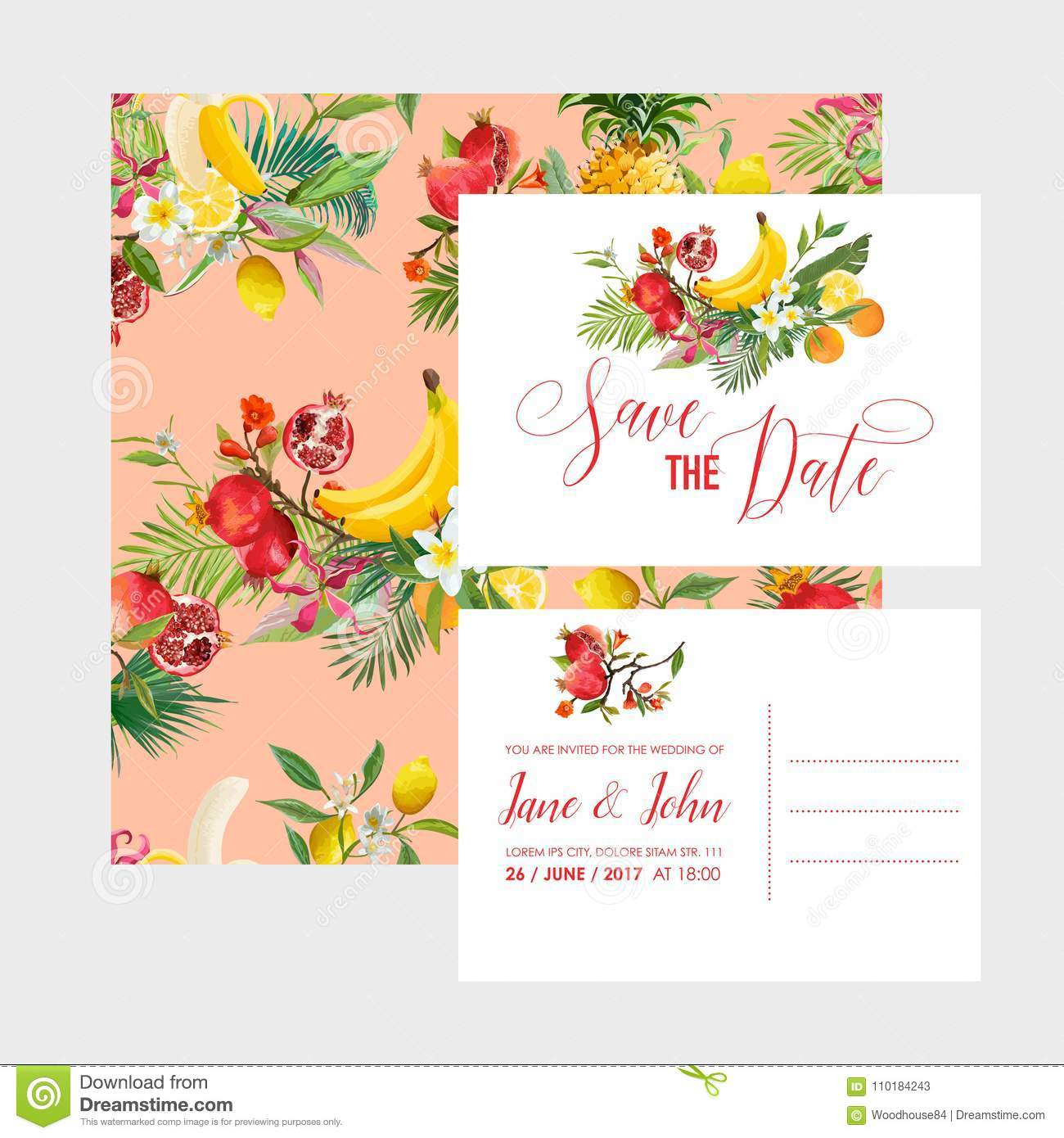 Wedding Invitation Template Set With Tropical Fruits And Flowers