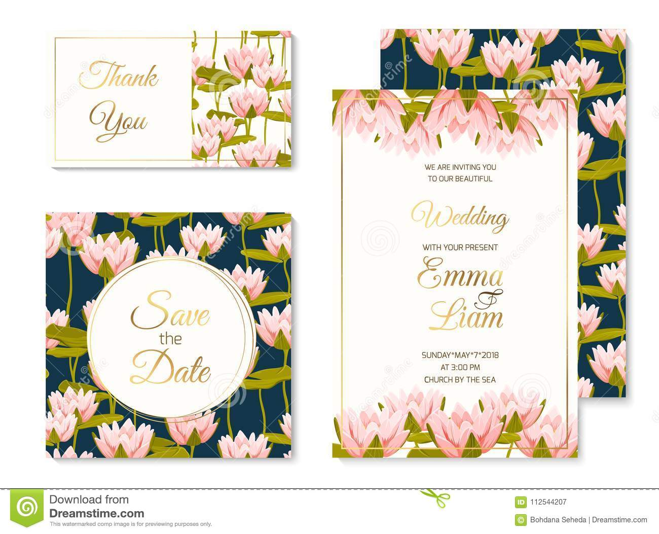 Wedding Invitation Template Set Water Lilly Flower Stock Vector -  Illustration of lily, garden: 112544207
