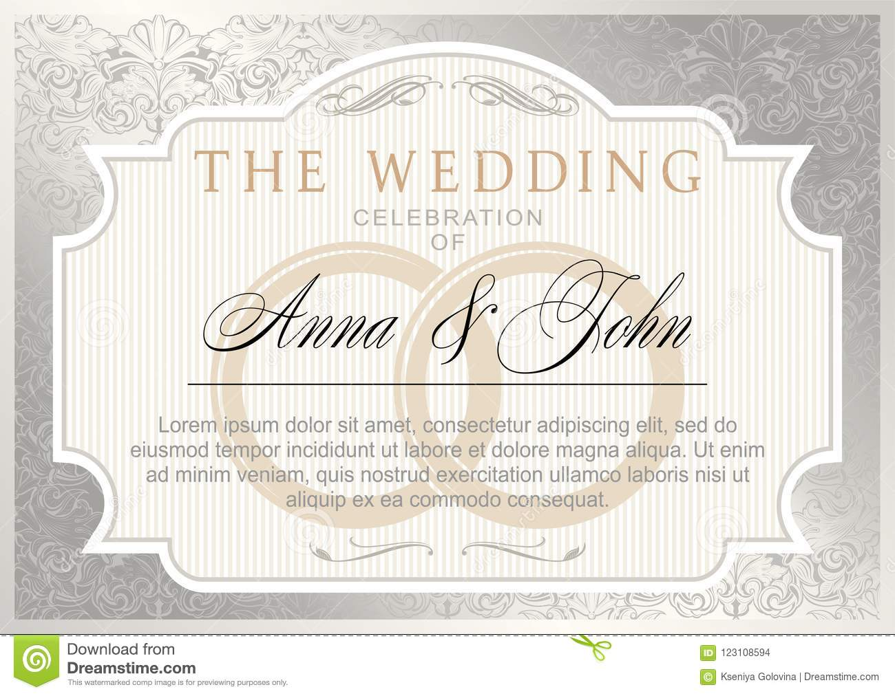 Wedding Invitation Template. Silver And Gold Color Stock Vector ...