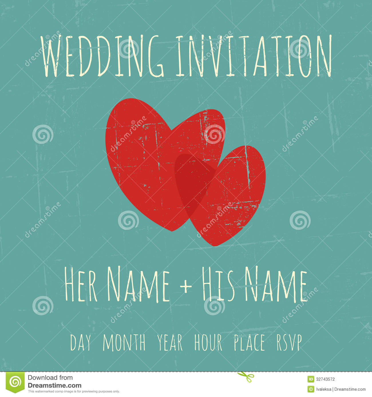 Wedding Invitation Template Stock Vector - Illustration of hearts ...