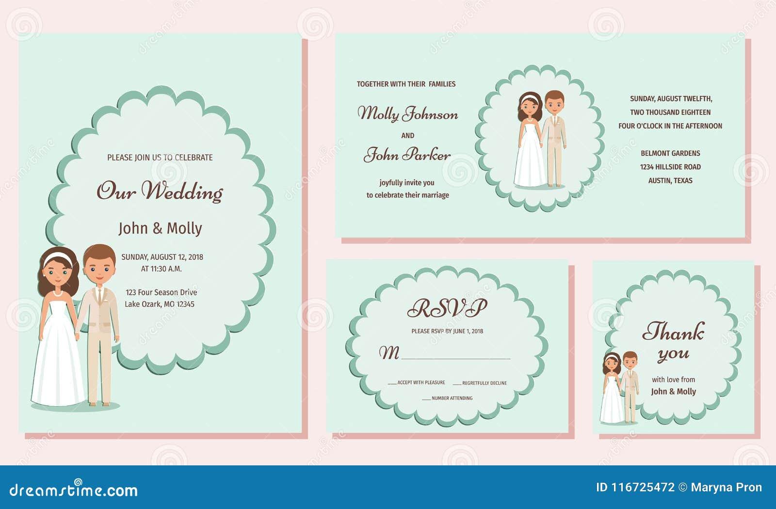 Wedding Invitation Templates Greeting Cards Vector Illustratio