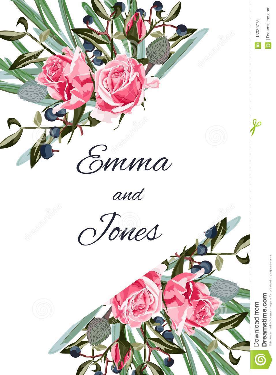 Greeting Card With Roses Watercolor Can Be Used As Invitation Card