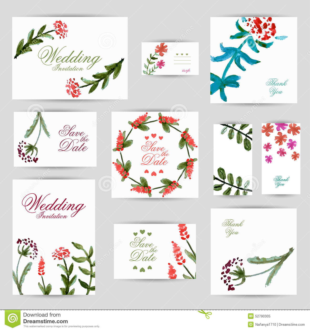 Wedding Invitation, Thank You Card, Save The Date Cards. RSVP Card ...