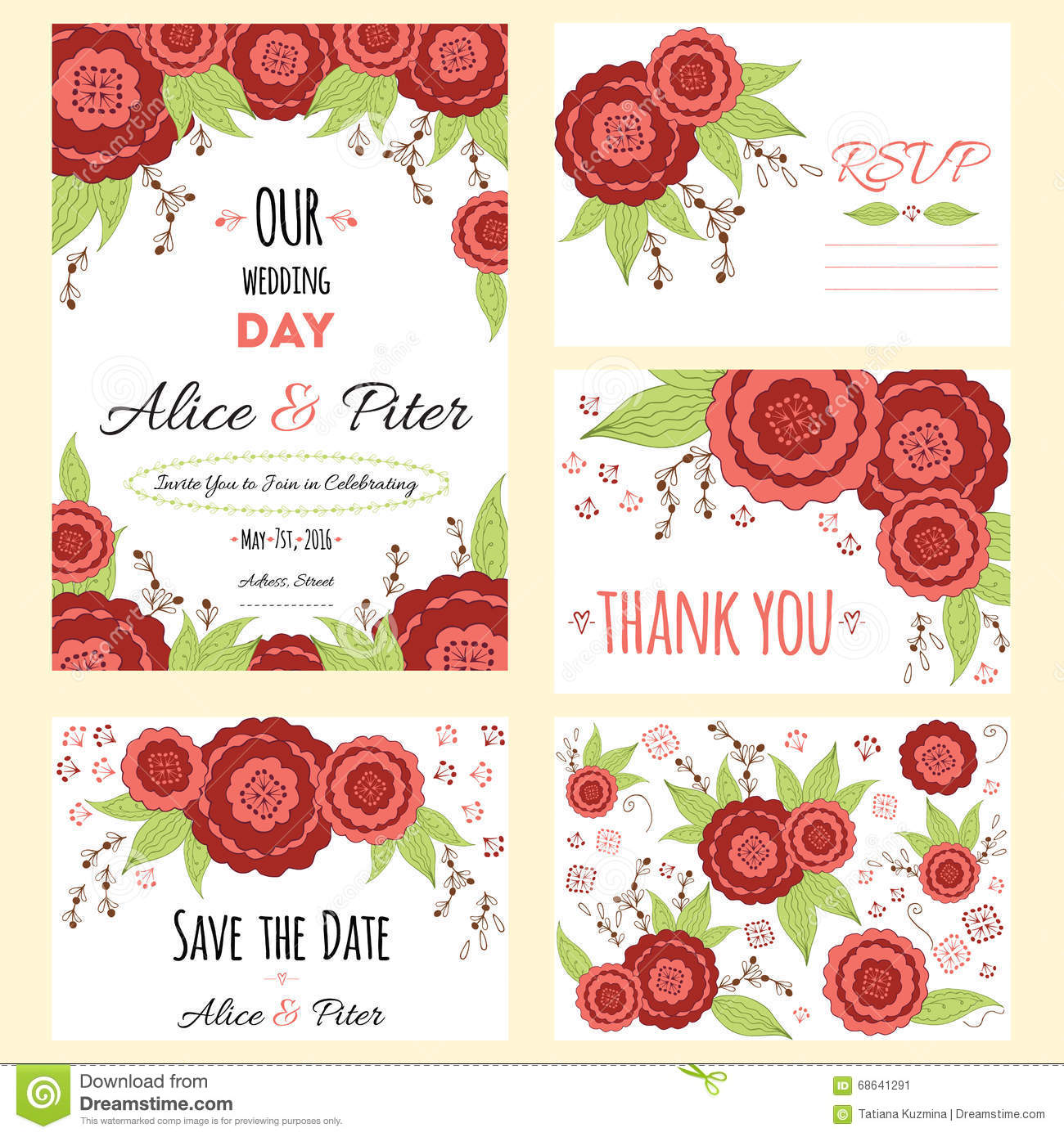Wedding invitation thank you card save the date cards wedding set wedding invitation thank you card save the date cards wedding set rsvp card stock vector illustration of floral frame 68641291 spiritdancerdesigns Images