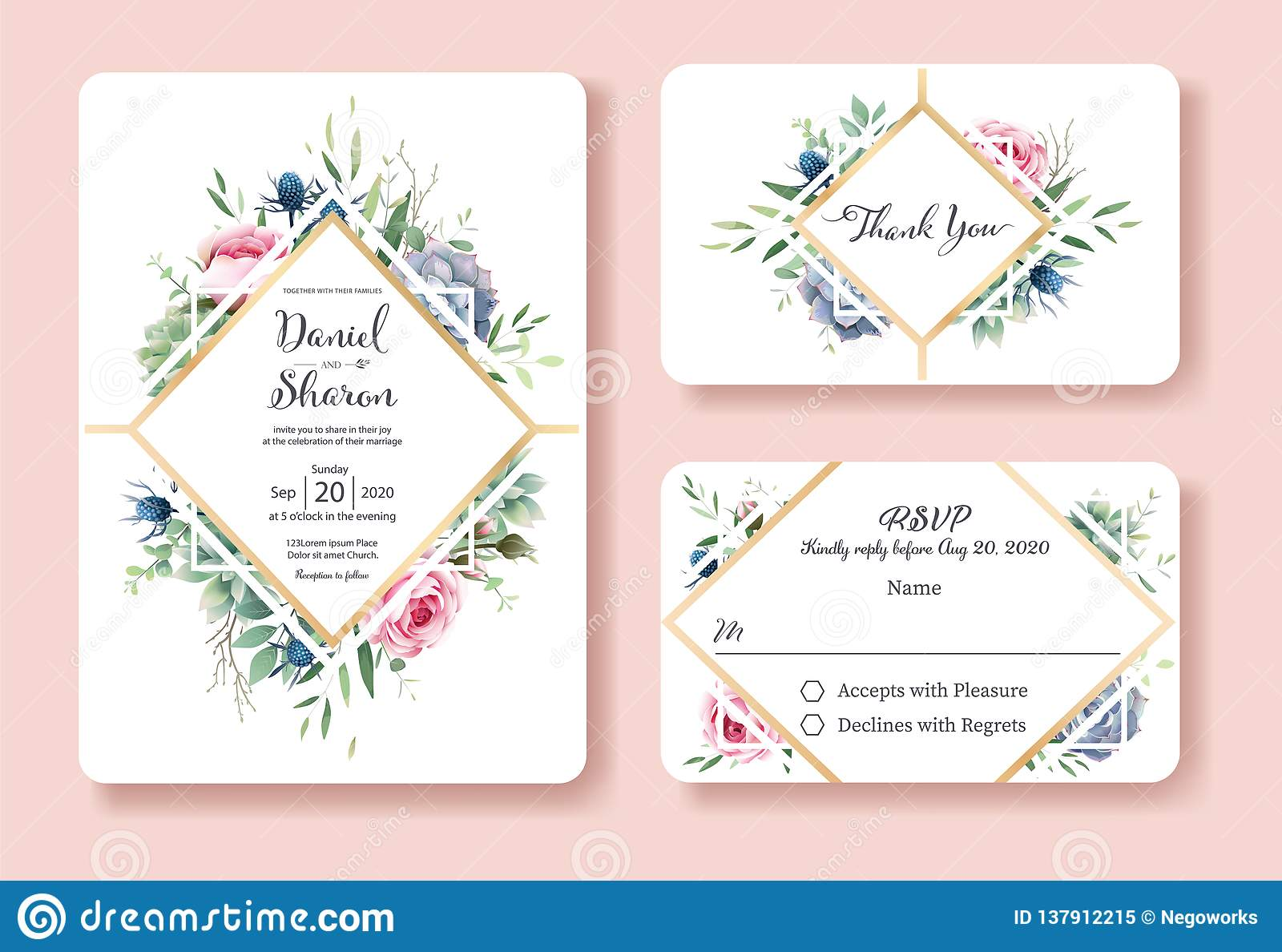 Wedding Invitation Thank You Rsvp Card Design Template Queen Of