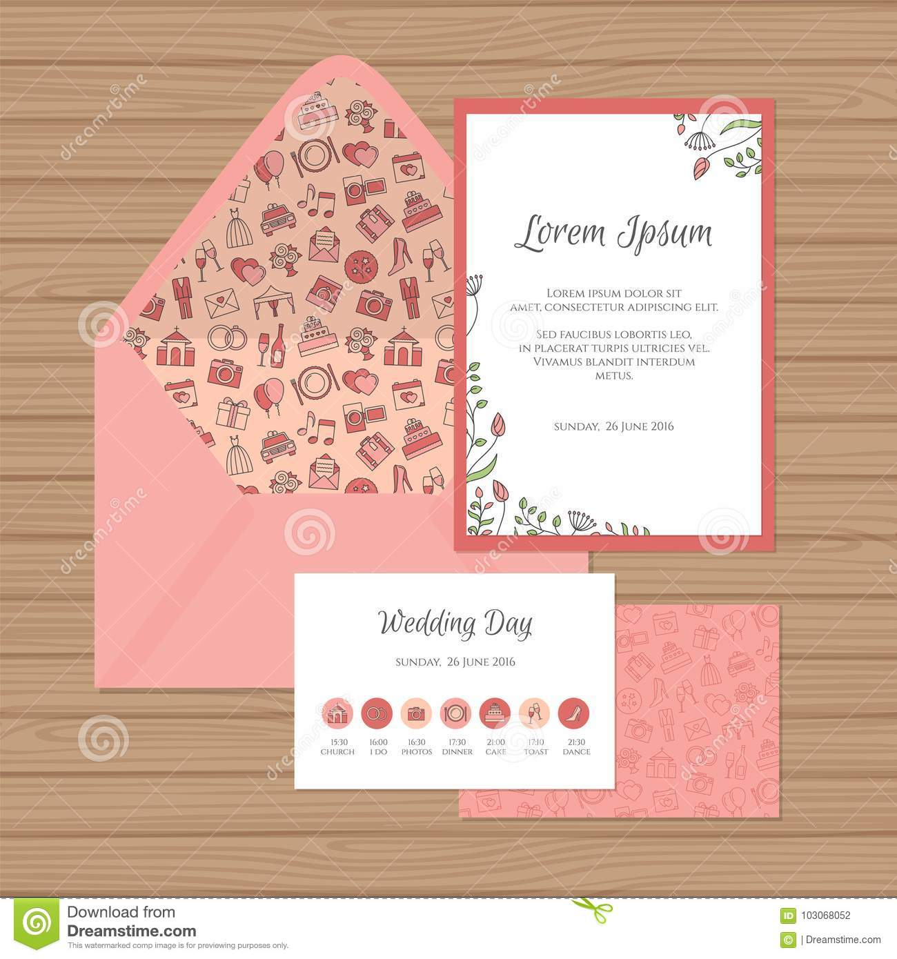 wedding invitation timeline card and envelope with floral stock