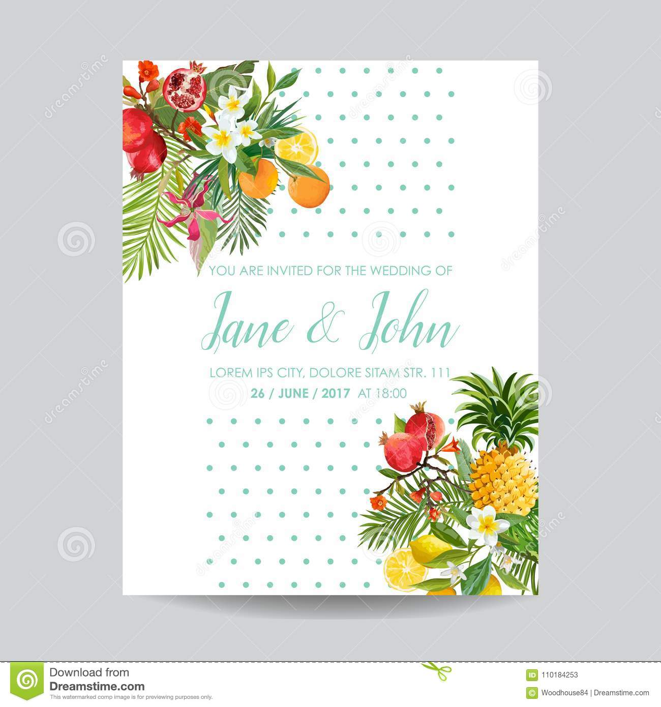 Wedding Invitation With Tropical Fruits And Flowers Greeting Save