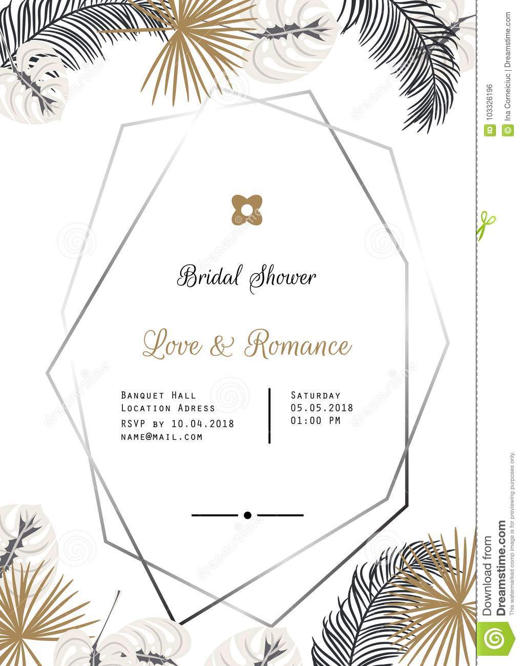 Wedding Invitation Vector Template Design Stock Vector