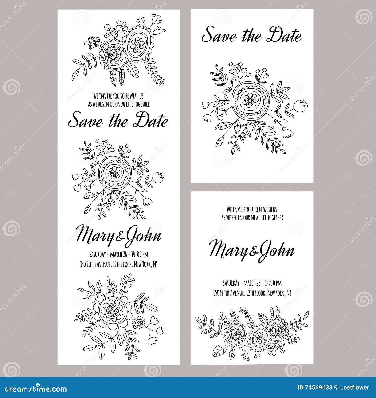 Wedding Invitation Vector Template White Background Stock Vector ...