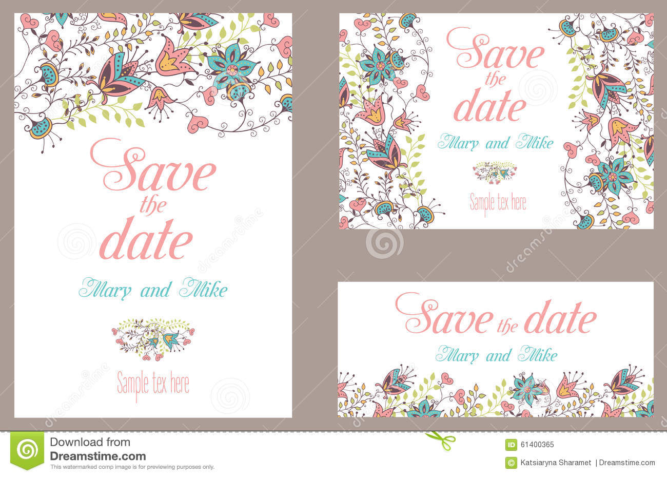 Wedding invitation vintage card with floral