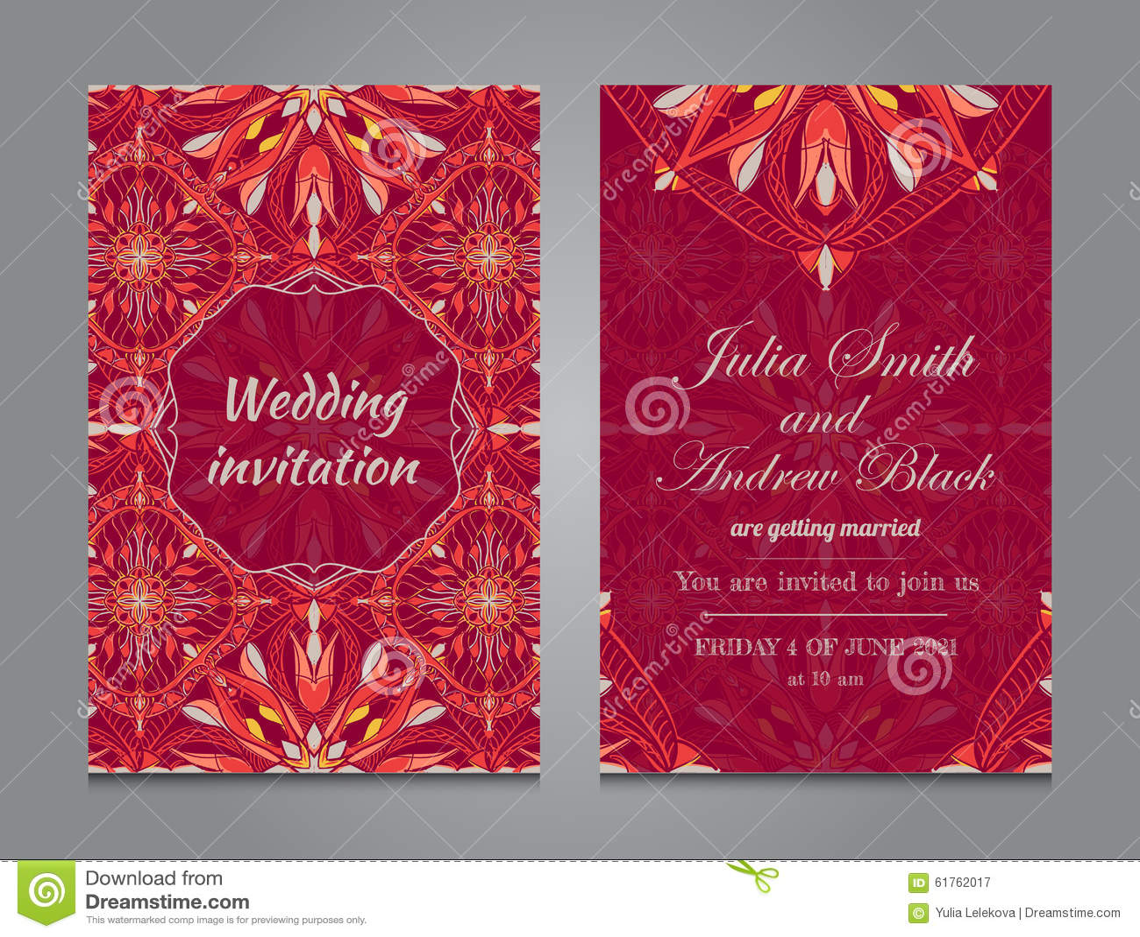 Wedding Invitation In Vintage Ornamental Style Stock Vector ...