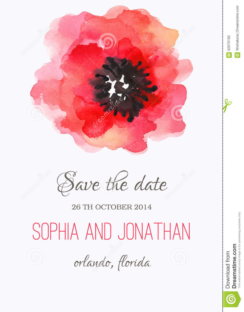 Wedding Invitation Watercolor With Flowers Stock Vector ...