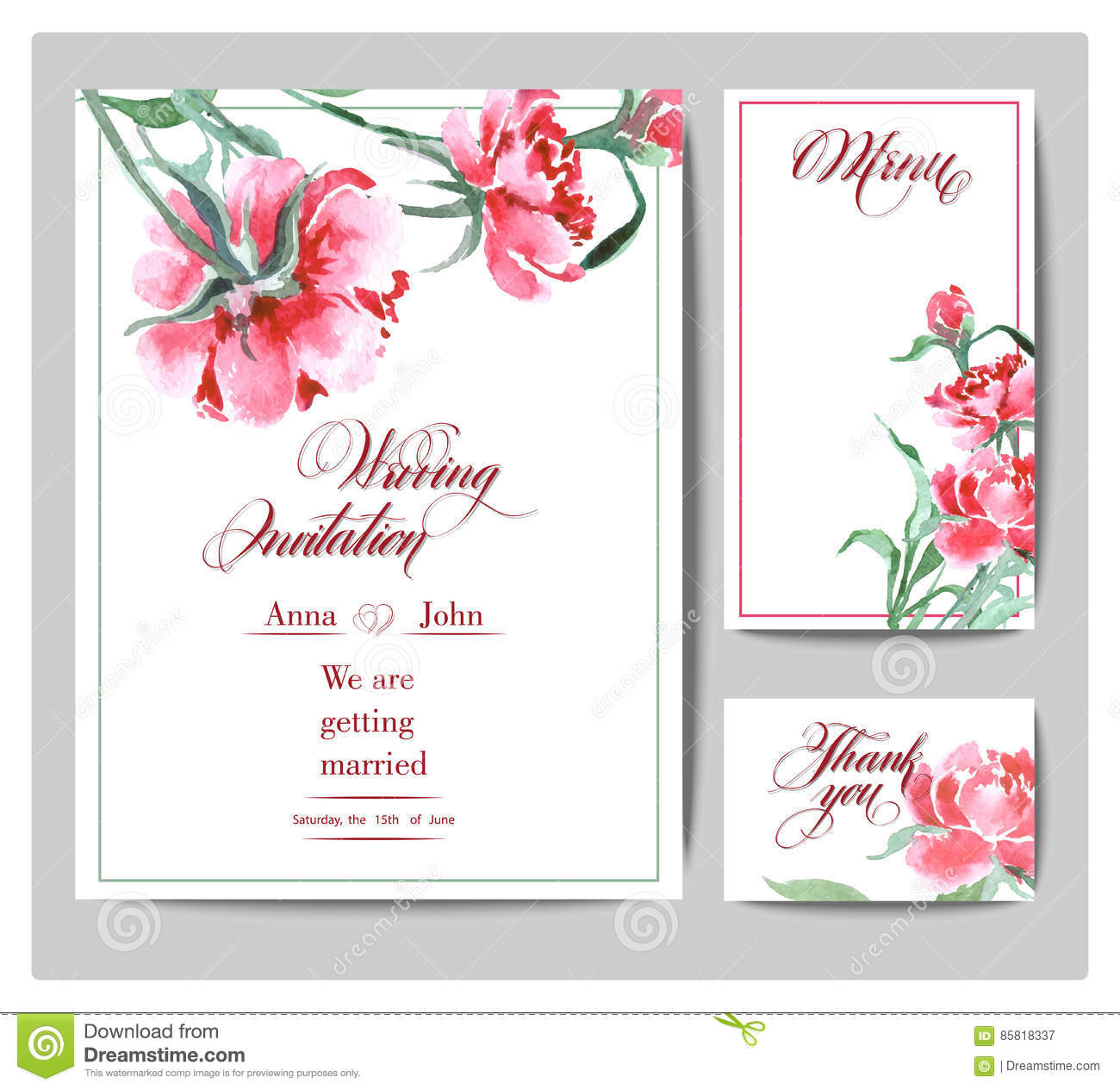 Wedding Invitation With A Watercolor Peonies. Card Use For Boarding ...