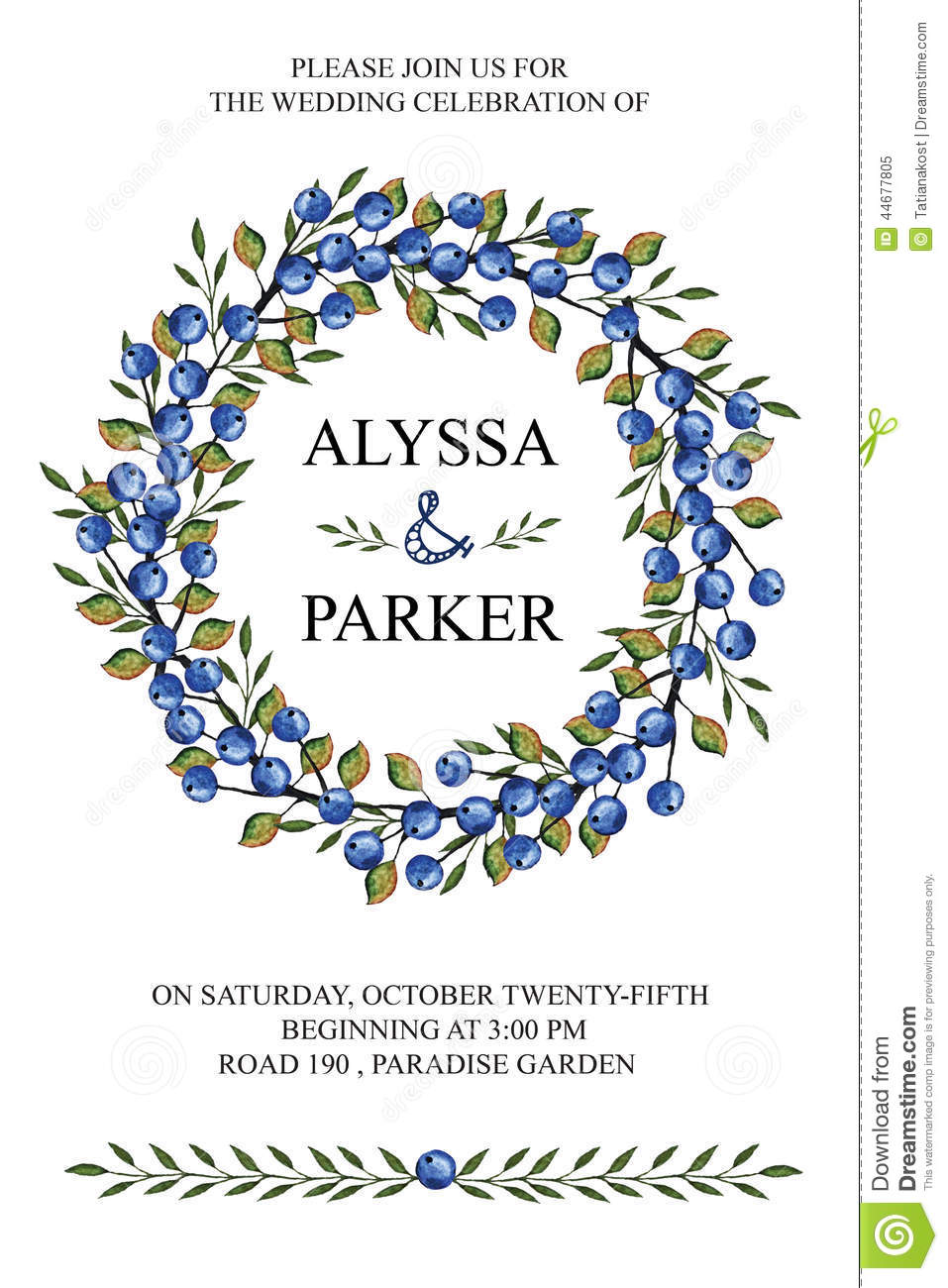 wedding invitationwatercolor wreathblue berries