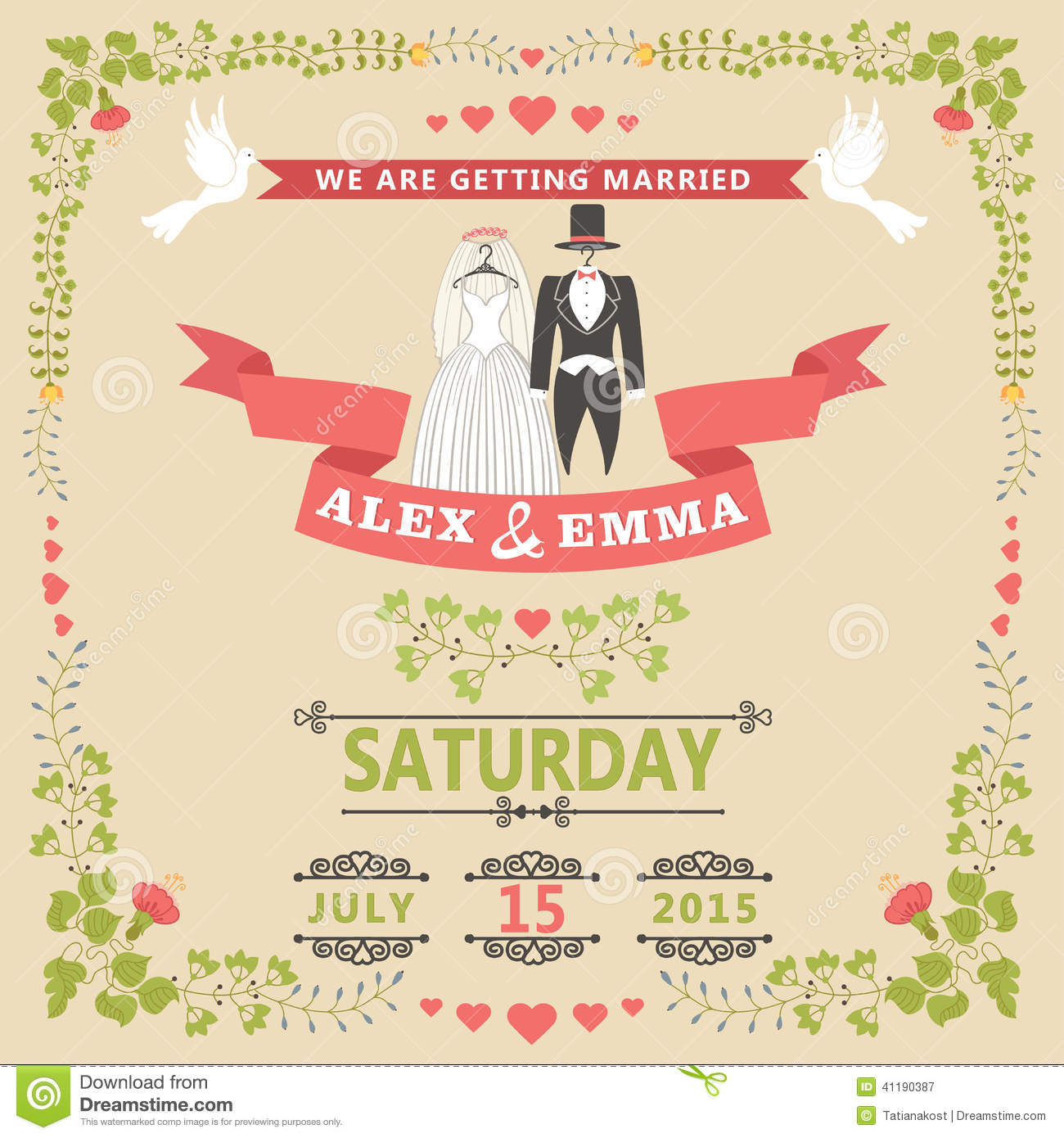 wedding invitation with wedding clothes and floral frame stock
