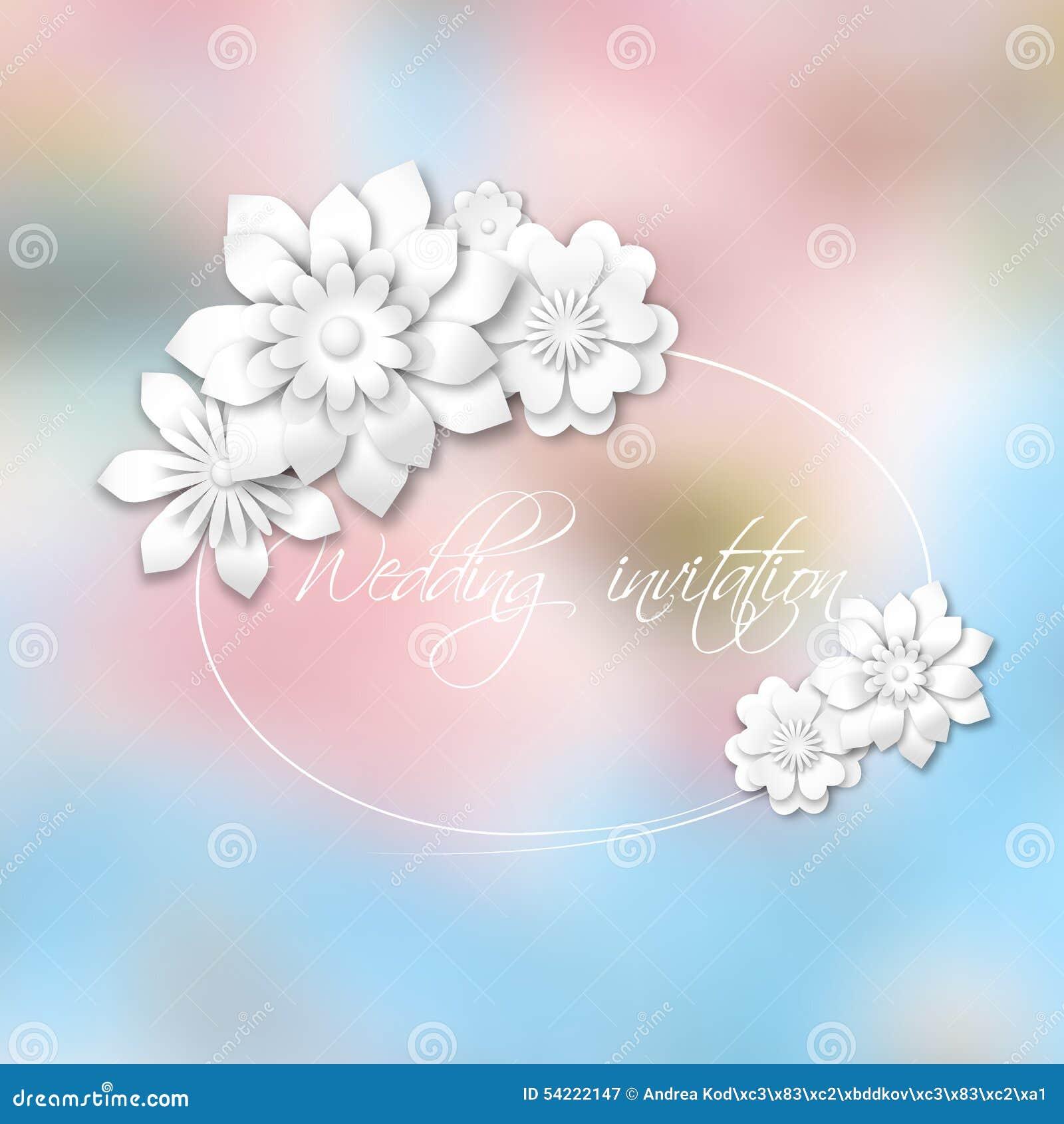 Bokeh Flowers Wedding: Wedding Invitation Stock Vector. Illustration Of Blurry
