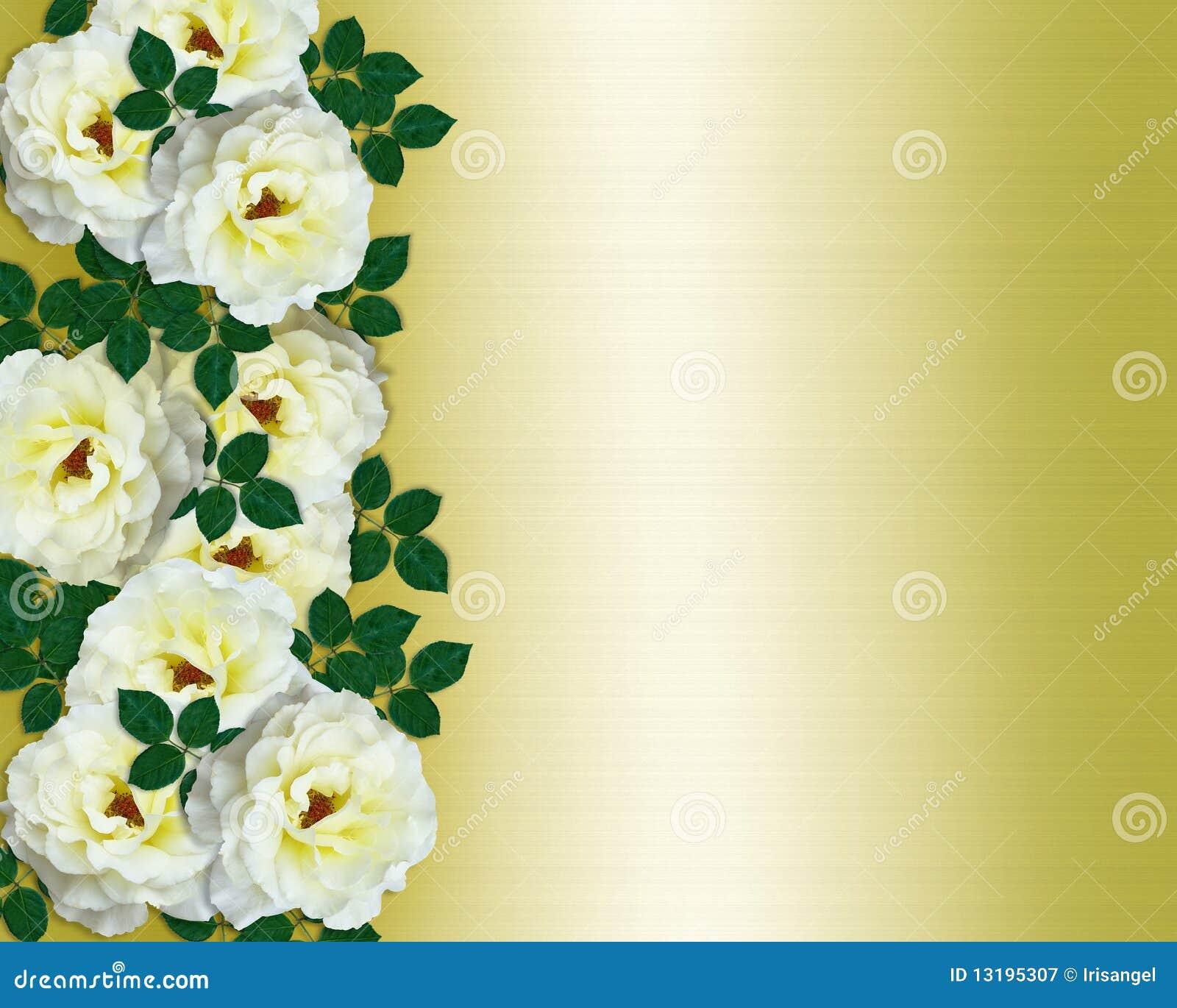 Wedding Invitation White Roses Yellow Satin Royalty Free