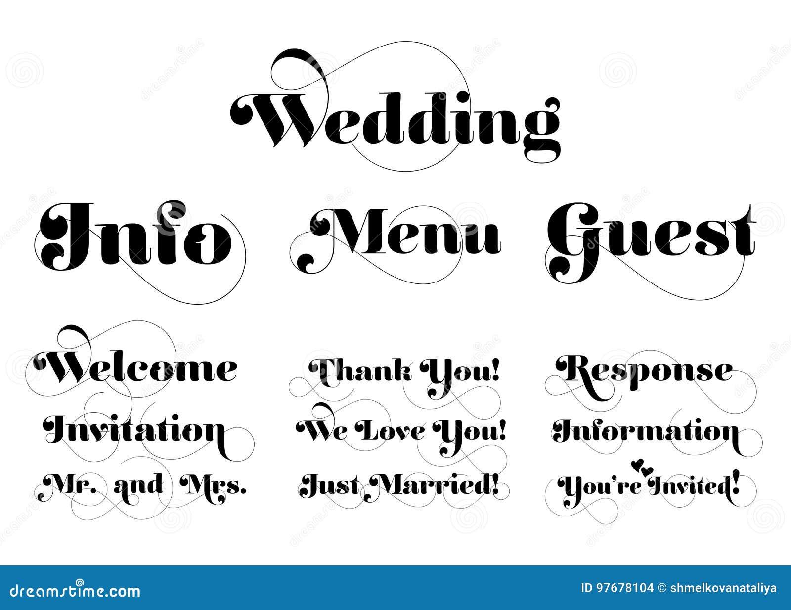 Wedding Invitation Wording. Vector Calligraphy With Swash. Stock ...