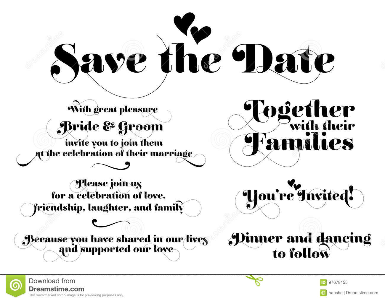 Wedding Invitation Wording. Vector Calligraphy With Swash And Tw ...