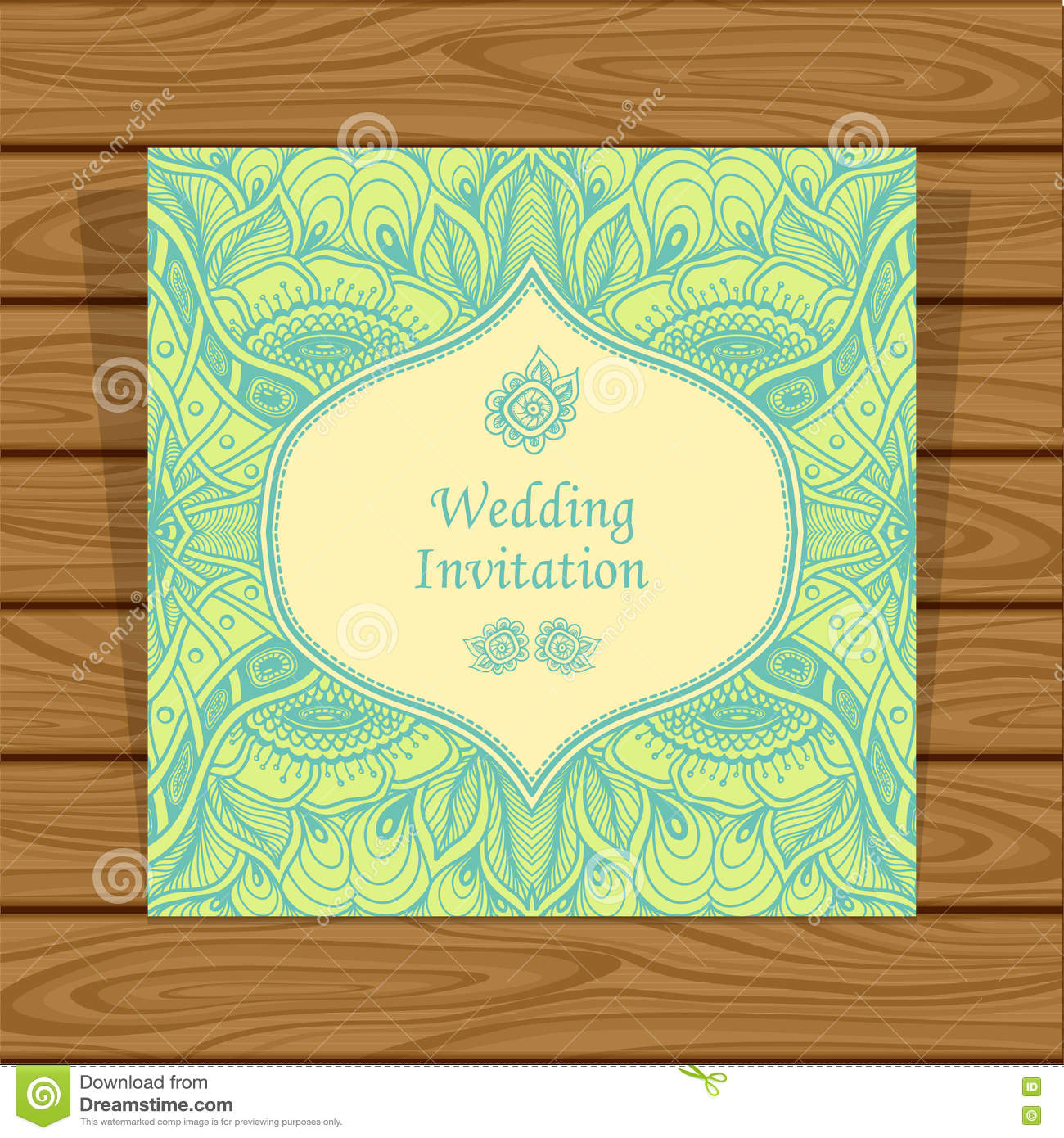 Wedding invitation with zen tangle or zen doodle flowers in green wedding invitation with zen tangle or zen doodle flowers in green beige stopboris Images