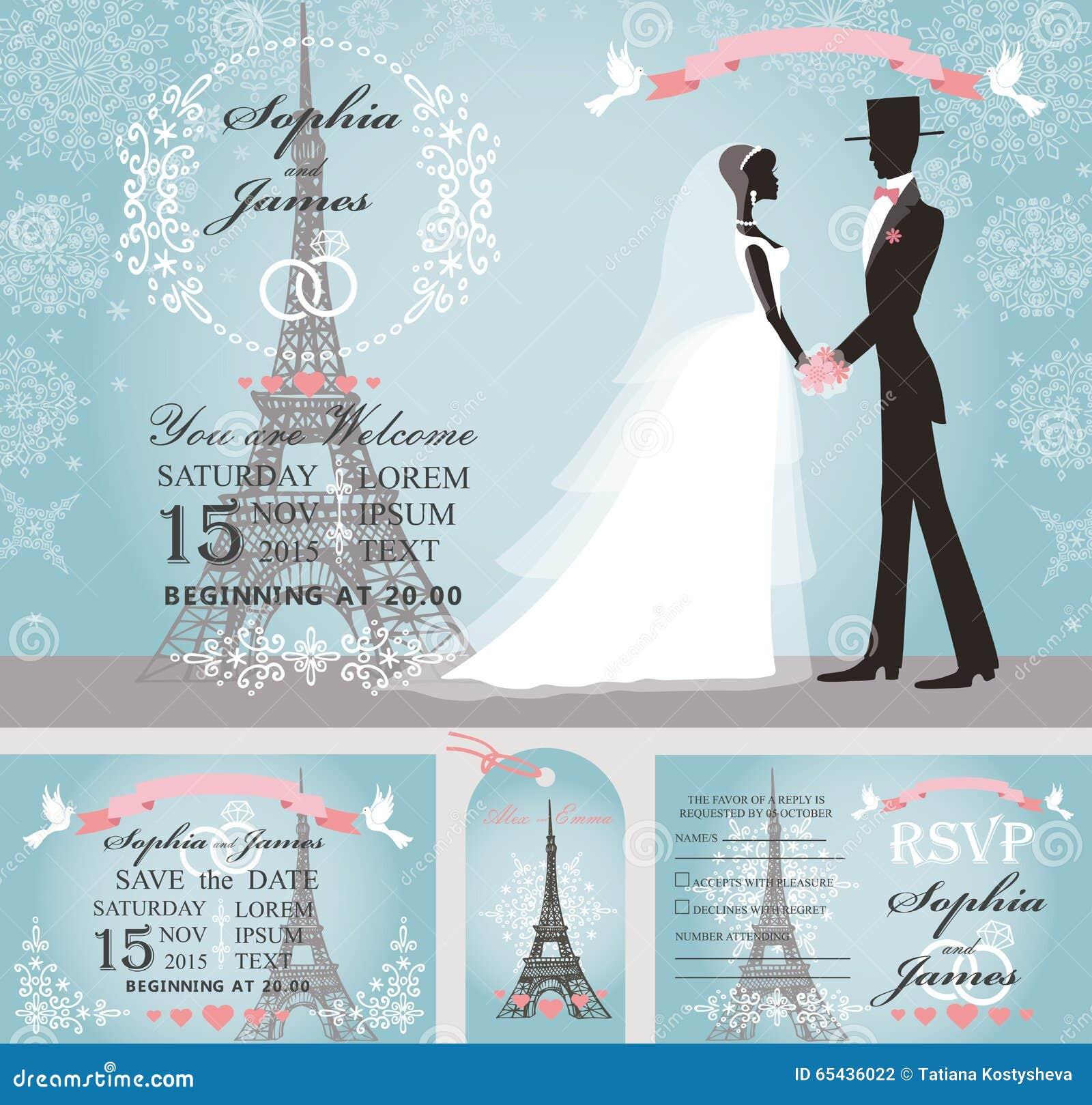 Wedding Invitations Bride Groom Snow Paris Winter Stock Vector