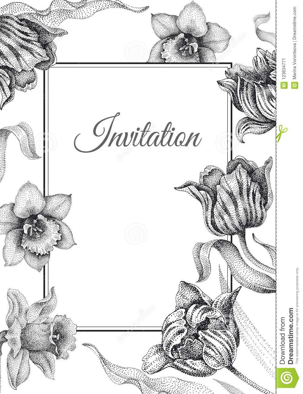 wedding invitations templates cards with flowers tulips and narc