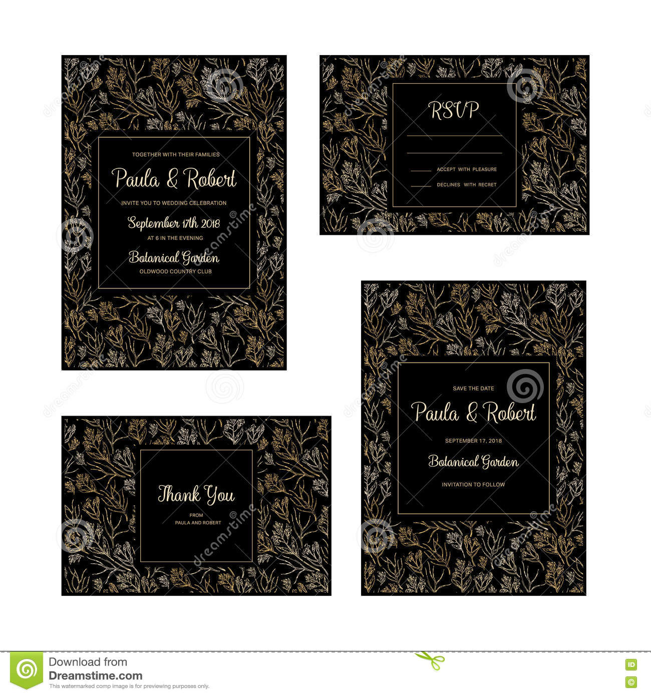 Wedding invitations set stock vector illustration of announcement wedding invitation gold card set vector invitation save the date rsvp reception thank you card template with floral background on white backdrop stopboris Image collections
