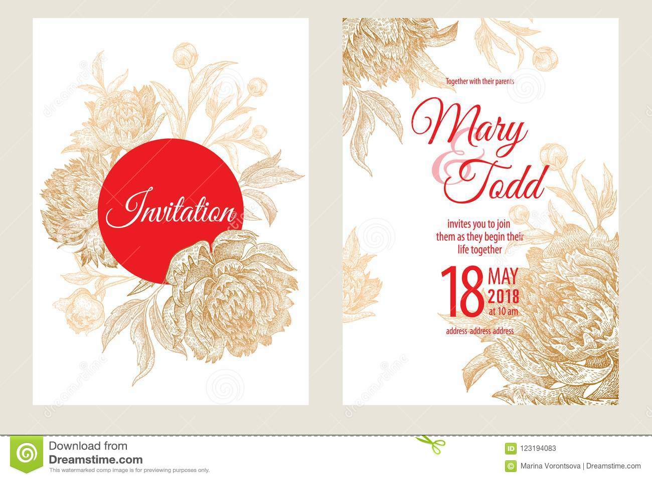 Wedding Invitations Templates Cards With Flowers Peonies. Stock ...
