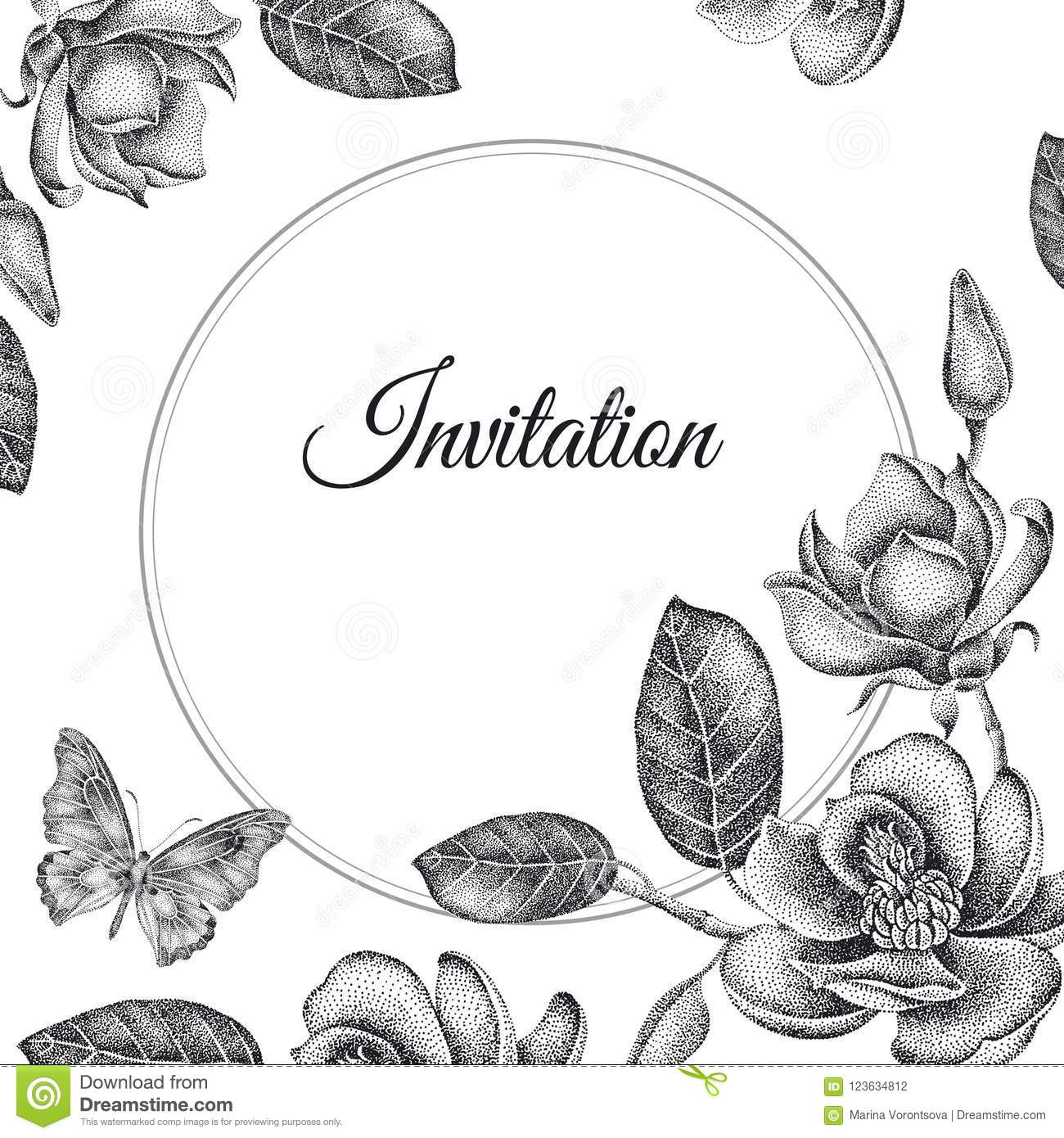 Wedding Invitations Templates Cards With Flowers Magnolias Stock
