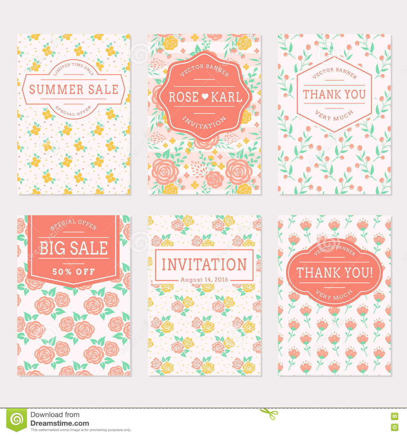 wedding invitations thank you cards and sale labels stock vector