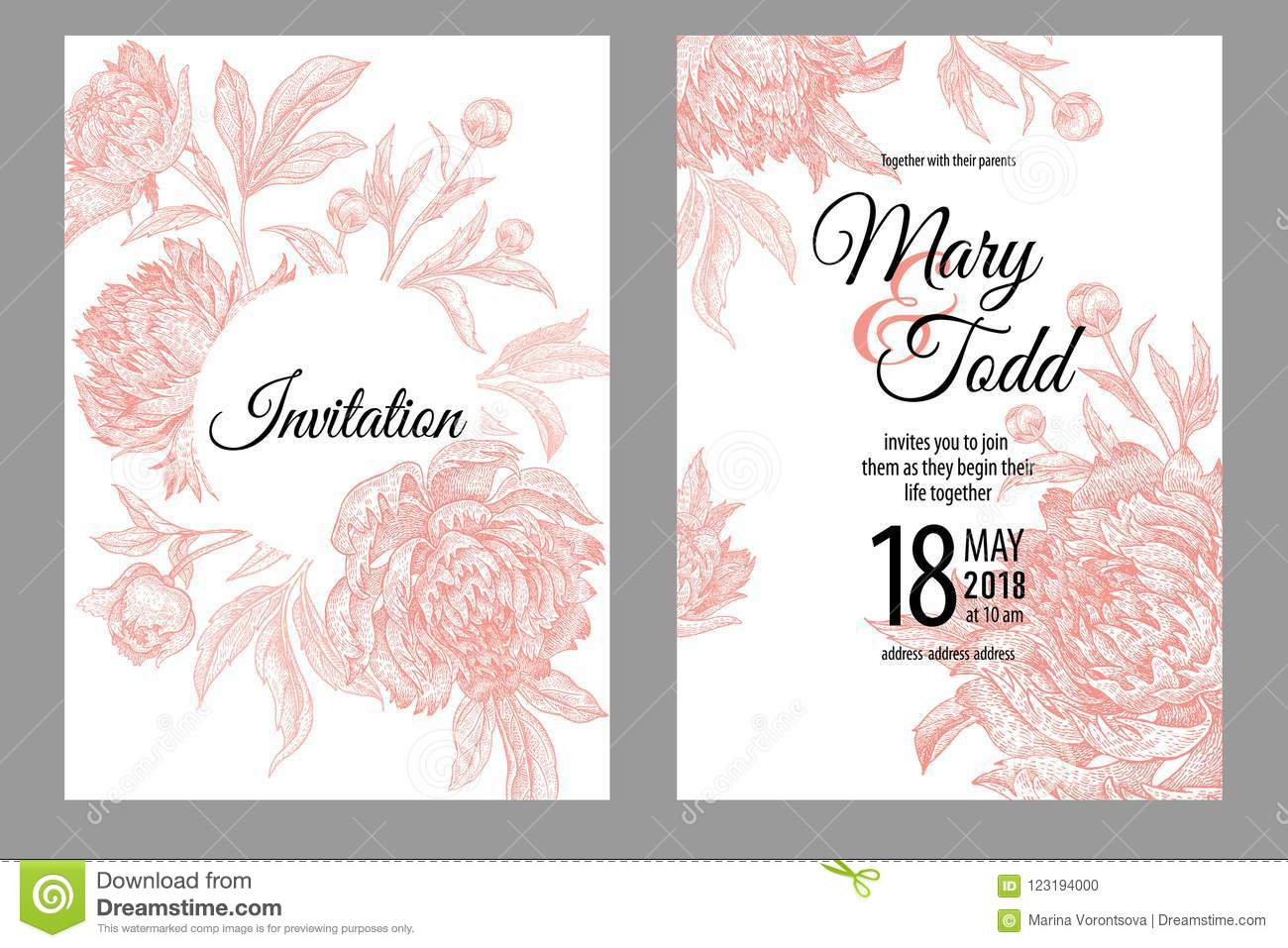 wedding invitations vintage greeting cards with flowers and fol
