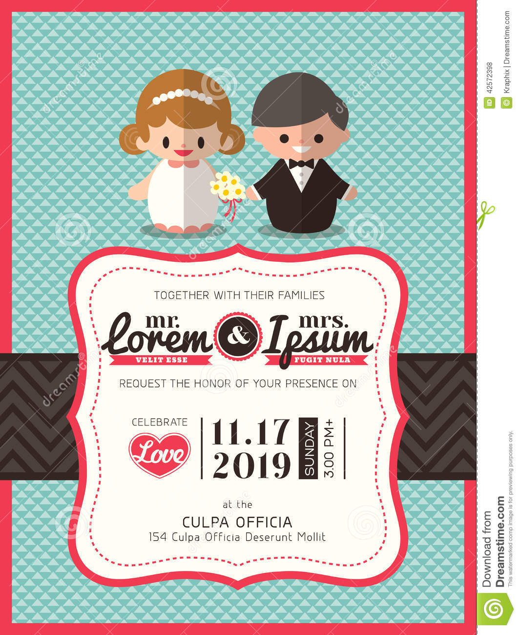 Wedding Invite Card Template With Groom And Bride Cartoon Stock Vector ...