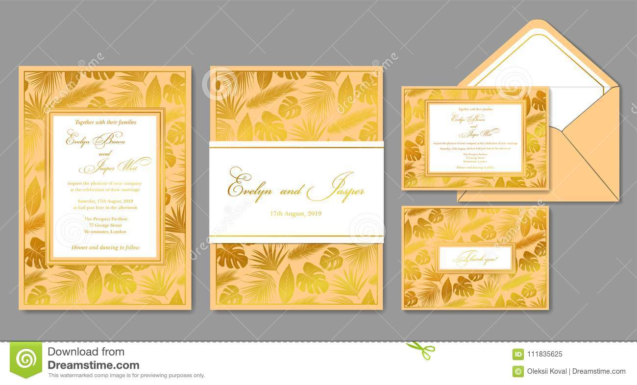 wedding invite envelope rsvp holiday card design with golden
