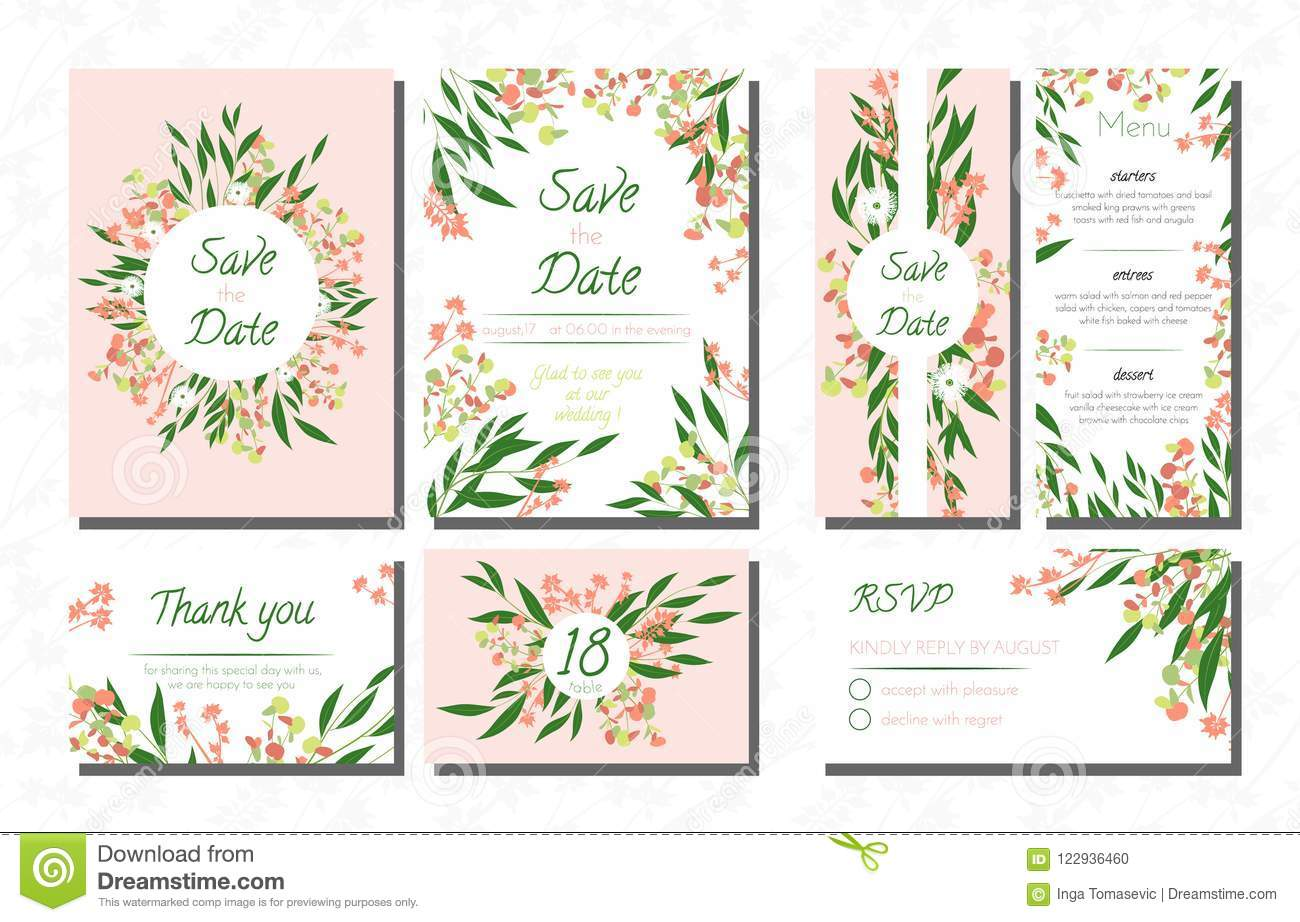 Weddinginviteeucalyptuscardtemplates Setvectordecorativeinvitationleavesfloralherbsgarland Menursvplabel122936460: Eucalytus Garland Wedding Place Card Templates At Websimilar.org