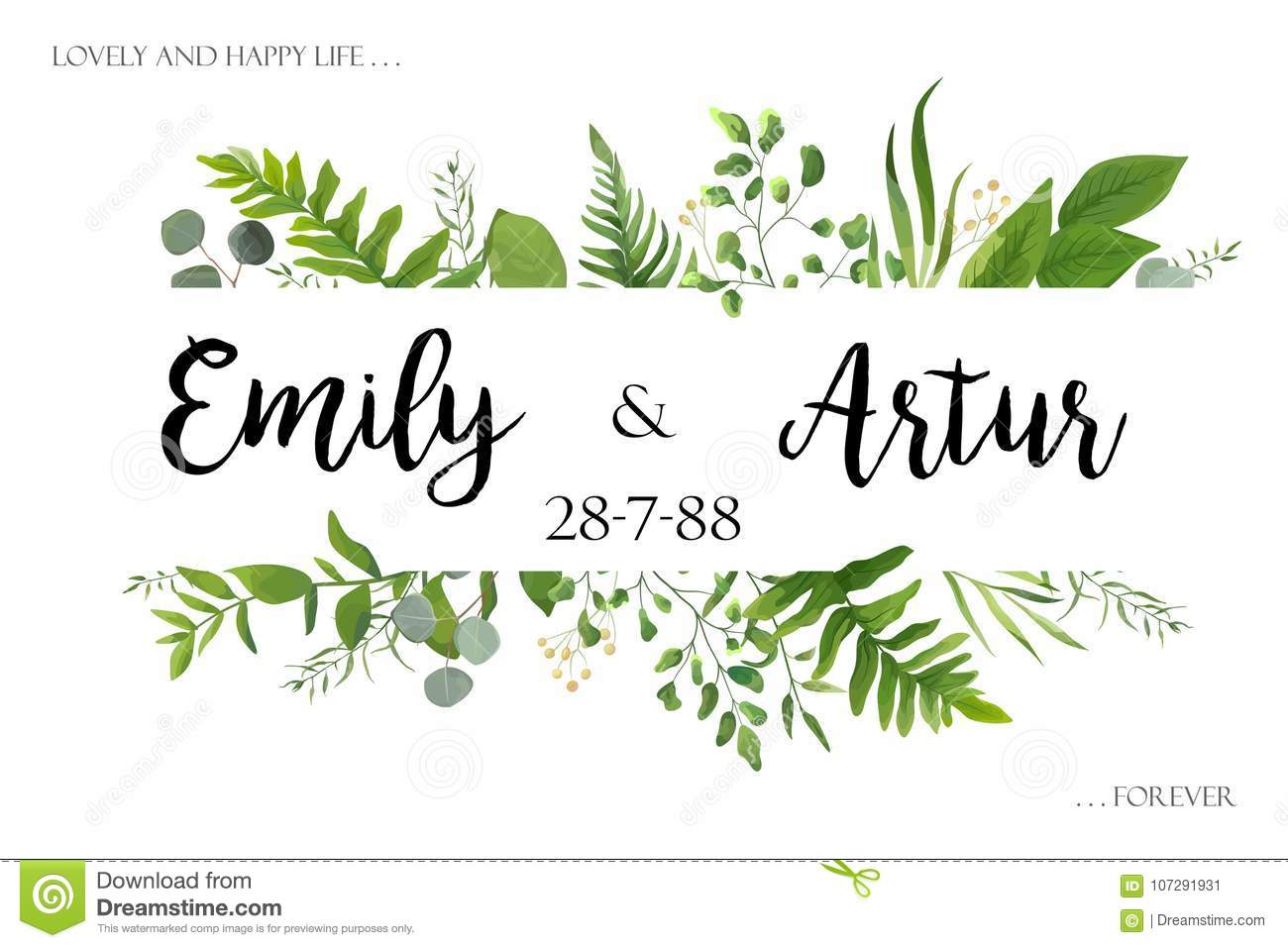 Wedding invite invitation card vector floral greenery design: Forest fern frond, Eucalyptus branch green leaves foliage herb