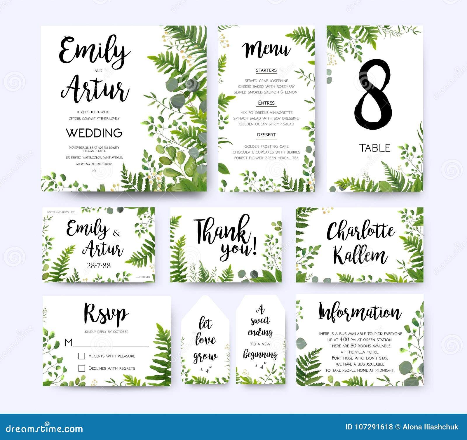 Wedding invite, invitation menu rsvp thank you card vector flora