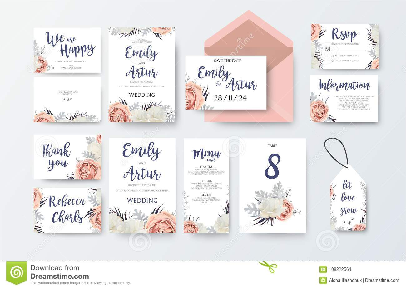 Wedding invite, invitation menu, thank you, rsvp, label card vector floral design with pink peach garden Rose, white peony flower