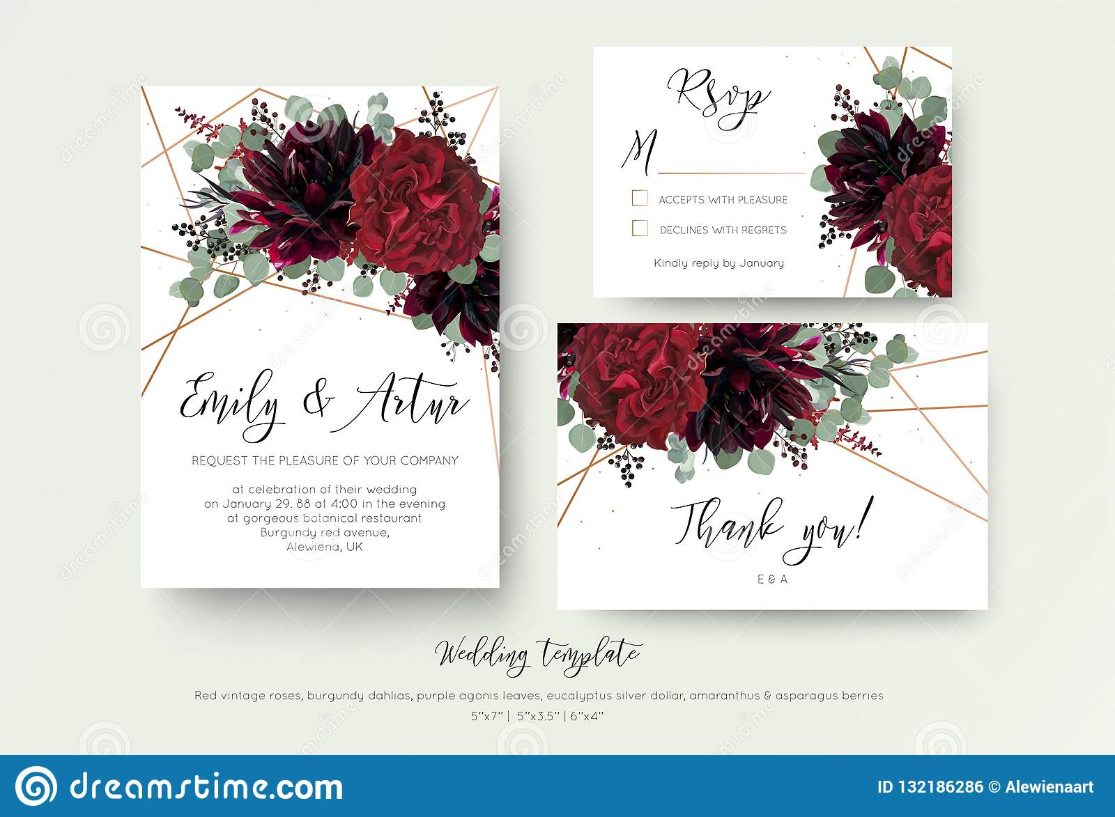 Wedding invite invitation, rsvp, thank you card floral design. R