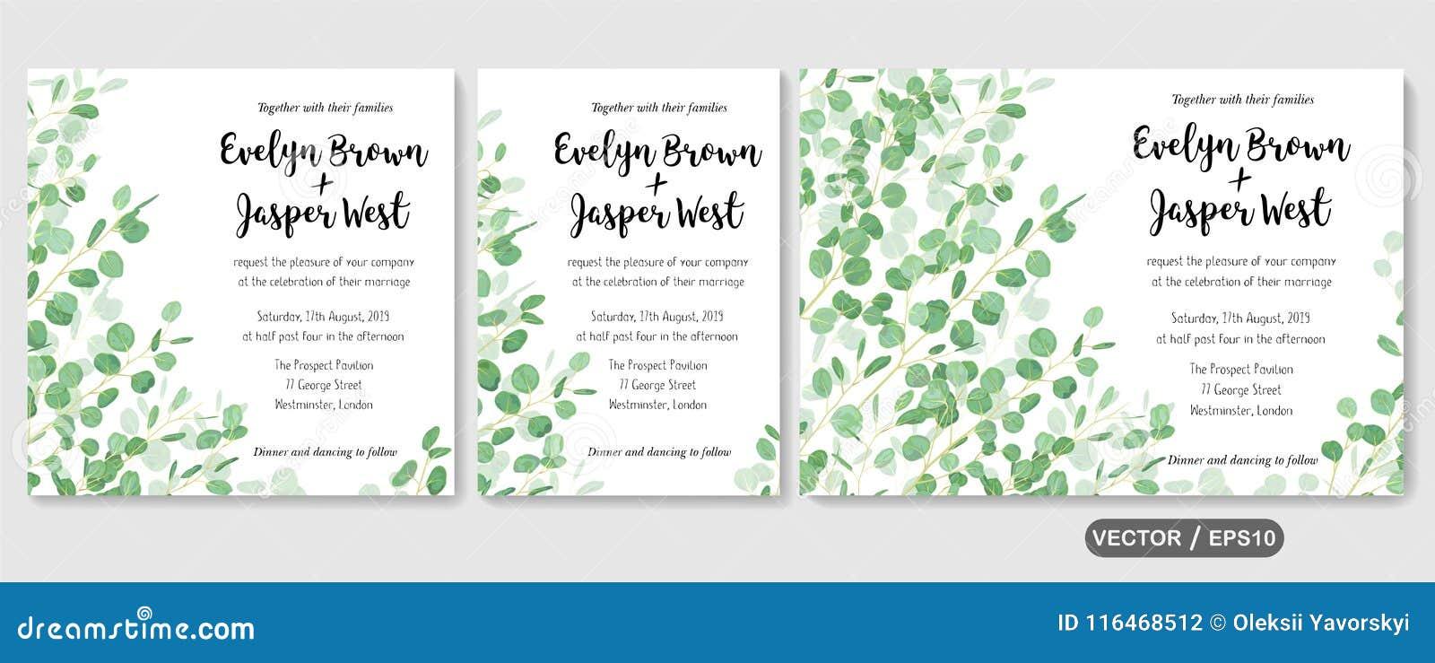 Wedding invite, invitation rsvp thank you card vector floral greenery design: evergreen leaf Eucalyptus branch, foliage herbs