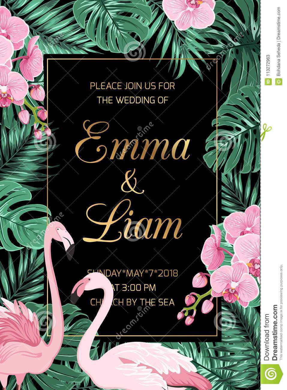 Wedding Invite Leaves Pink Orchid Flamingo Couple Stock Vector