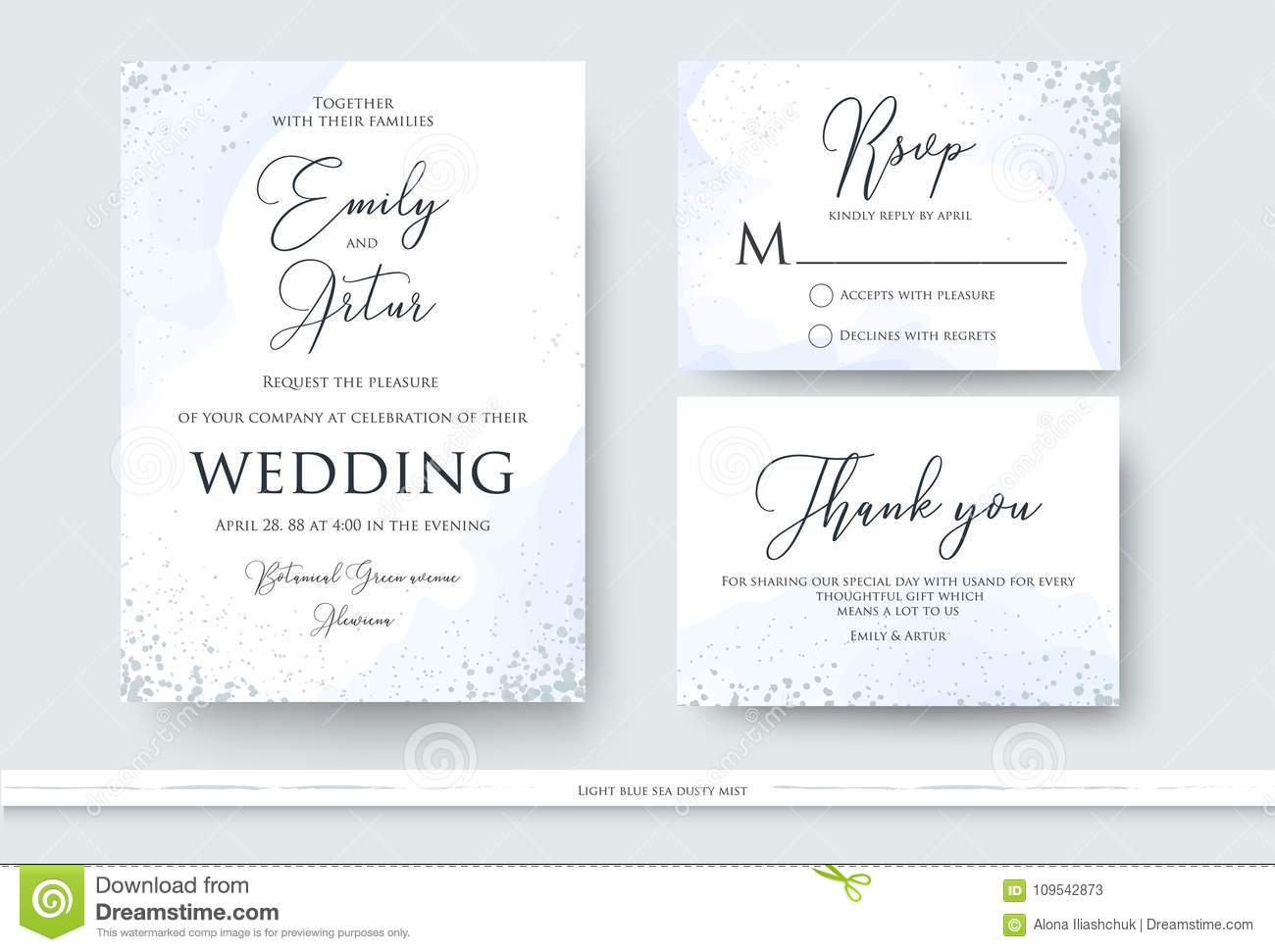 Wedding Invite Thank You Rsvp Card Design Set With