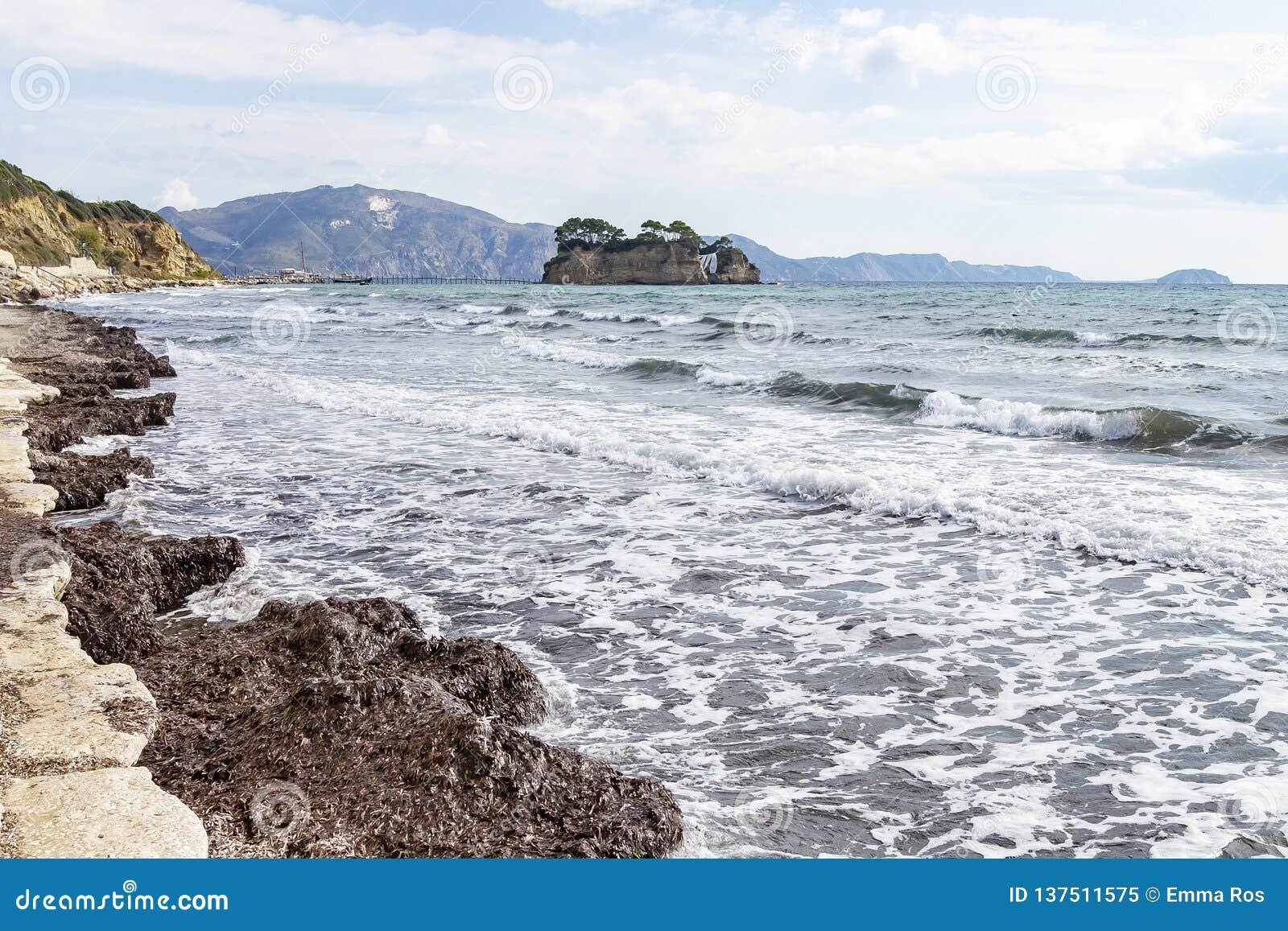 The wedding island Agios Sostis seen from the coast near Laganas on Zakynthos, Greece