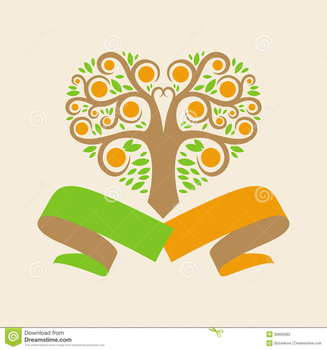 Wedding Logo With An Orange Tree In The Form Of He Stock ...  Wedding Logo Wi...