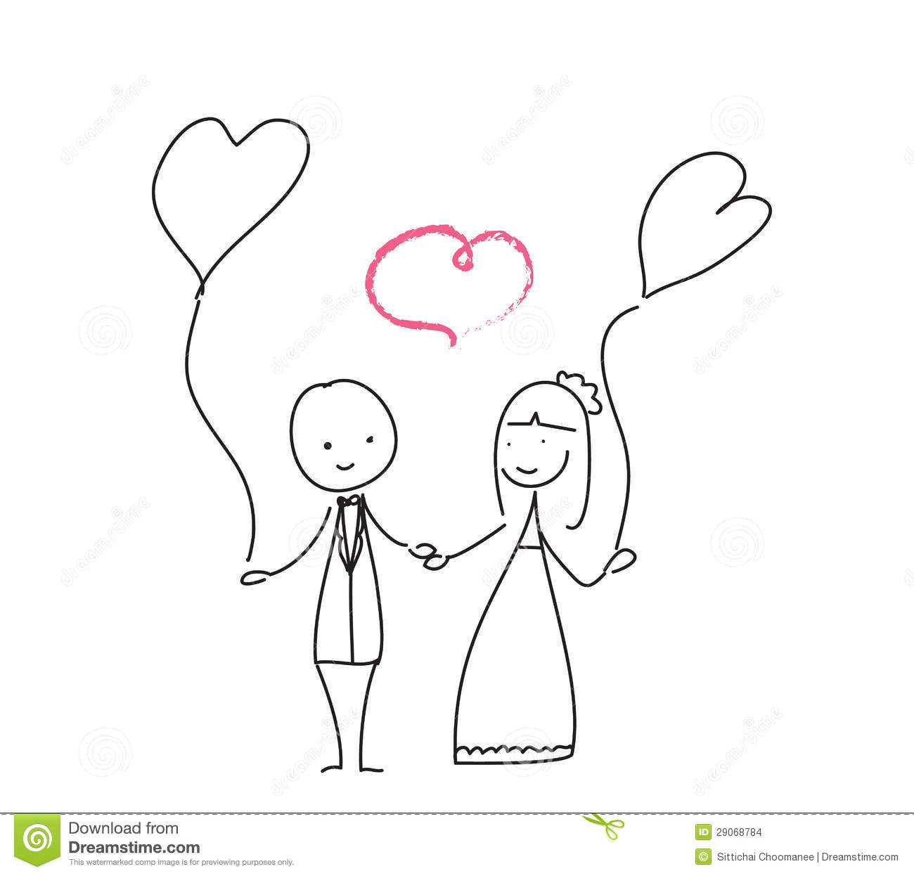 Wedding Love Doodle Stock Images