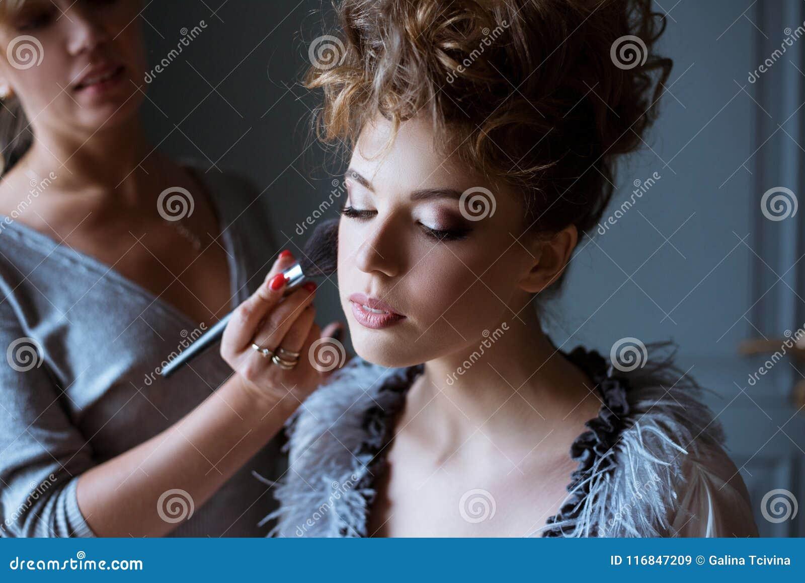 Wedding Makeup Artist Making A Make Up For Bride Stock Image