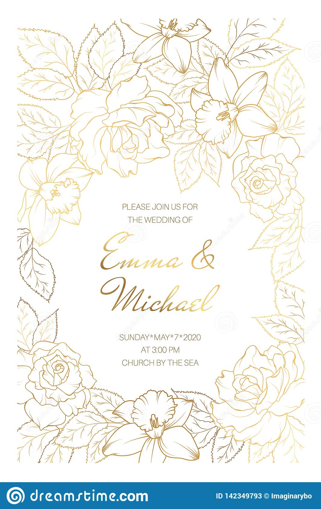 Wedding Marriage Event Invitation Card Template Rose Peony